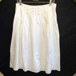 JONES NEW YORK | Summer White Midi Eyelet Skirt